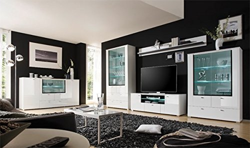Wohnwand Anbauwand 4-teilig 440921 weiß Hochglanz MDF / schwarz - 6