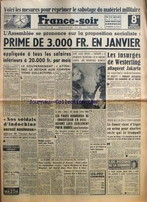 FRANCE SOIR 8 EME EDITION du 27/01/1950