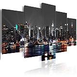 decomonkey Bilder New York 200x100 cm 5 Teilig Leinwandbilder Bild auf Leinwand Vlies Wandbild Kunstdruck Wanddeko Wand Wohnzimmer Wanddekoration Deko Panorama Skyline Stadt