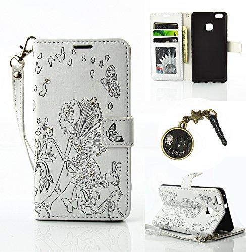Preisvergleich Produktbild für Smartphone P9 Lite Hülle,Hochwertige Kunst-Leder-Hülle mit Magnetverschluss Flip Cover Tasche Leder [Kartenfächer] Schutzhülle Lederbrieftasche Executive Design +Staubstecker (1AA)