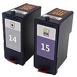 Karl Aiken 2X Compatibles Lexmark 14 Lexmark 15 Cartouches d'encre pour Lexmark Z2300, Z2310, Z2320, X2600, X2630, X2650, X2670 (1 Noir,1 Couleur)