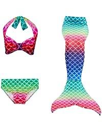 Le SSara Girls Colorful Mermaid Pattern Traje de baño Bikini Establece Traje de baño para Cosplay Party
