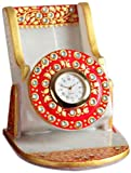 Aapno Rajasthan White Marble Cell Phone Stand with Clock (10.16 cm x 10.16 cm)
