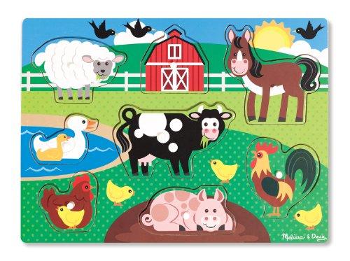 Melissa & Doug - Animales de granja, rompecabezas de encastre de madera (19050)