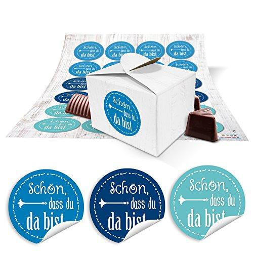 24 kleine weiße Geschenkboxen Geschenkverpackung Geschenkschachteln 8 x 6,5 x 5,5 + runde blau türkise Aufkleber SCHÖN DASS DU DA BIST Schachteln für Gastgeschenke, Mitgebsel, give-aways
