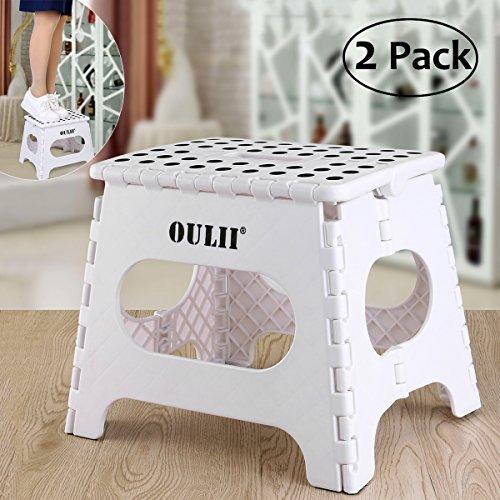 OULII 2 Stück Klapphocker Kunststoff für Kinder und Erwachsene Höhe 27cm, für ein Gewicht von bis zu 120KG