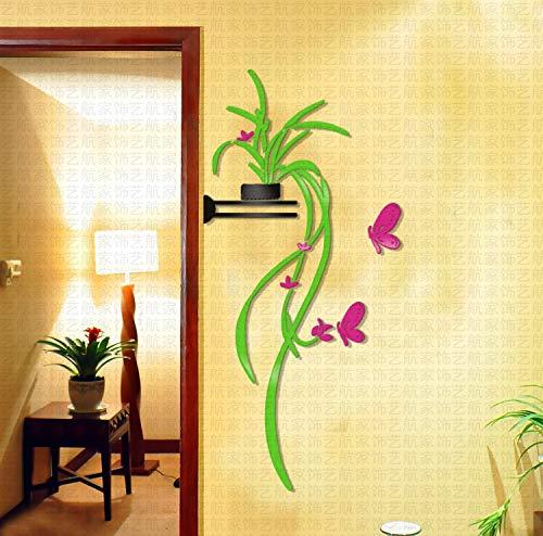 JWQT Wandtattoos Chlorophytum, 3D, Kristall, Acryl, dreidimensionale Wand, Wohnzimmer Sofa, Flur, Tür, TV, Hintergrund, Wand, Dekoration und Post, Chlorophytum Chlorophytum, grünes Blatt Rose Re -