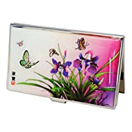 Porte-cartes de visite pour femme, papillons et fleurs lys en nacre naturelle brillante. Etui inox - 15-20 cartes
