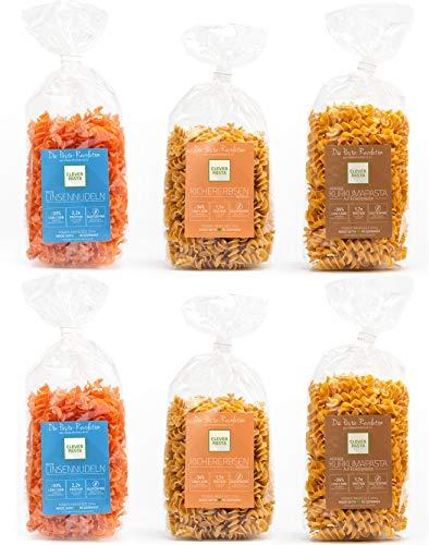 Clever Pasta - Glutenfreie Low Carb Nudeln aus roten Linsen, Kichererbsen und Curcumanudeln mit hohem Eiweissgehalt (6 x 250g) - 100{6232ff36e474e581e5079ce50fbf64cad94d188aa859b3ffd4a039071fad151e} vegan und laktosefrei