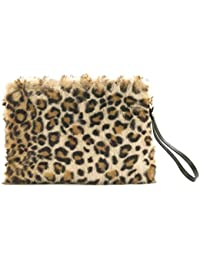ee1a09e9b7 Zarapack Women s Leopard Faux Fur Clutch Genuine Leather Wristlet Handbag  Purse