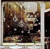 Fensterfolie Weihnachten Schneeflocken Fensterbilder Statisch Haftende PVC-Sticker Weihnachten Fensterdeko Aufkleber WandtattooFensteraufkleber Weihnachten Kugeln Merry Christmas happy new year