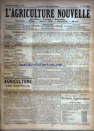 AGRICULTURE NOUVELLE (L') [No 593] du 30/08/1902 - AGRICULTURE PAR DE BEAUCE - BERTHOT ET TROUDE - HORTICULTURE PAR MOTTET - VITICULTURE PAR GUIGNARD ET DE VILLE - LA BASSE-COUR PAR NOCARD ET DE LOVERDO - L'ANGUILLE PAR ZIPEY - LE BIBASSIER PAR GAGUAIRE - par Collectif