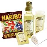 handverpacktes Wellnessgeschenke Set Weinprobe mit Weinduschgel Pflegebad Seife plus Weingummi