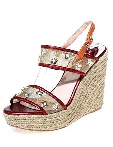 LFNLYX Chaussures Femme-Extérieure / Habillé / Soirée & Evénement-Rouge-Talon Compensé-Compensées / Talons / A Plateau / A Bride Arrière-Sandales Red