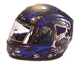 Viper rs-44calavera motocicleta casco en negro y azul