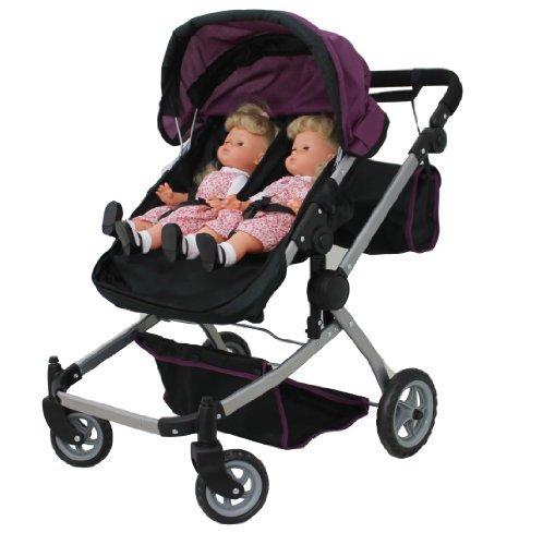 Mommy & Me Puppe Collection Babyboo Deluxe Twin Puppe Kinderwagen/Buggy violett & schwarz mit gratis Kutsche Bag–9651A