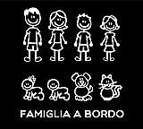 Adesivi Famiglia - Kit Completo - Famiglia A Bordo - Colore: Bianco - Family Stickers Vetro Auto - Punto Evo Citroen Ford Fiat Panda 500 Cinquecento Grande Punto Idea