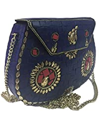 Blue Stone Party Bags,Ethnic Clutch,Sling Bags For Women On Sale, Metal Bag,ethnic Tribal Wallet,vintage Purse