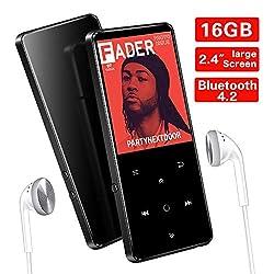 SuperEye 16GB Bluetooth 4.2 MP3 Player mit Kopfhörern,2.4 Zoll TFT Bildschirm,MP3 Player Sport Portable mit FM Radio, HiFi Lossless,Unterstützt bis 64 GB,Schwarz