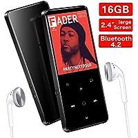 Supereye Lettore MP3, Lossless Sound Lettore MP3 Bluetooth 16GB, 2.4 Pollici Portatile MP3, Pulsante di Tocco, Radio FM/Registratore Vocale/Foto/E-book, Supporto Fino a 64GB, Cuffie Musicali Inclusi.
