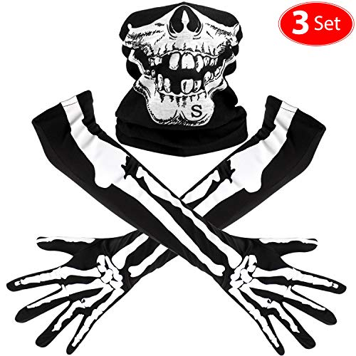 Weiße Kostüm Gesichtsmaske - Weißes Skelett Lange Handschuhe und Schädel Gesichtsmaske Hälfte Ghost Bones Cosplay Kostüme für Erwachsene Halloween Tanz Costume Party (3 Sets)