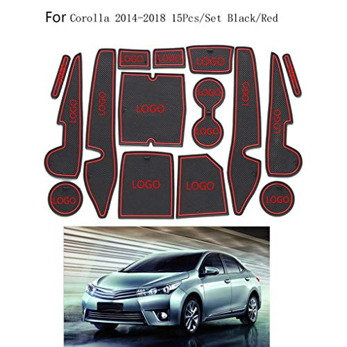 Dergtgh Reemplazo 15pcs para la Ranura Toyota Corolla 2014-2018 Copa de Coches Puerta de la Puerta Estera del cojín de decoración de Interiores