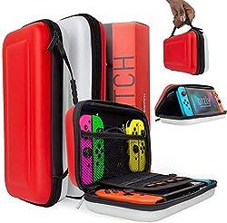 Orzly Tasche für das Nintendo Switch, Poke (ROT/WEIß) Aufbewahrungstasche/Hartschalen Case/Cover/Hülle/Schutzhülle für die Nintendo Switch Konsole & Accesoires
