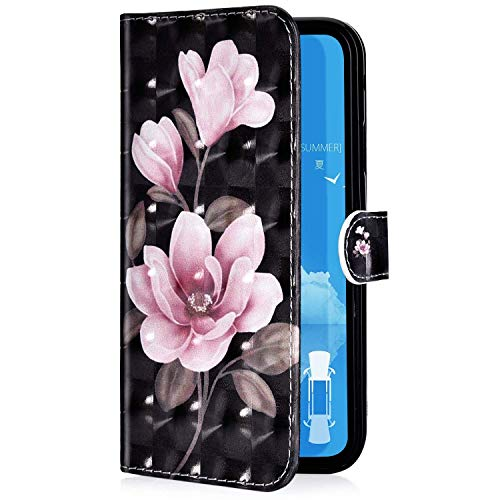 Uposao Kompatibel mit Samsung Galaxy A70 Handyhülle Glänzend 3D Bunt Bling Glitzer Muster Leder Tasche Schutzhülle Brieftasche Handytasche Lederhülle Klapphülle Case Flip Cover,Rosa Blumen