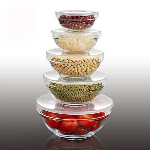5 pezzi di vetro pyrex ciotole con coperchio insalata fresca ciotola di spaghetti istantanei scatole ciotola trasparente alle microonde ciotola di vetro set, coperchio trasparente