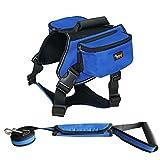 Ondoing hunderucksack Satteltasche leine Geschirr reisende hundetasche für das Wandern,Camping und reisen (XL, Blau)