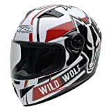 NZI 150200G607 Must Wild Wolf Casco de Moto, Color Blanco, Negro y Rojo, Talla 57 (M)