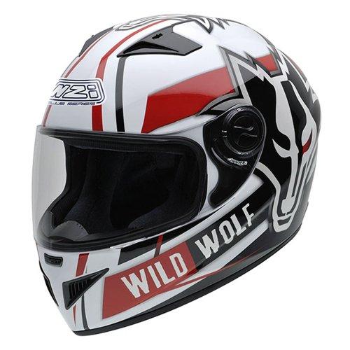 NZI 150200G607 Must Wild Wolf Casco de Moto, Color Blanco, Negro y Rojo, Talla 54 (XS)