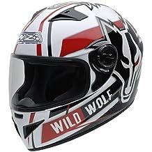 NZI 150200G607 Must Wild Wolf Casco de Moto, Color Blanco, Negro y Rojo,