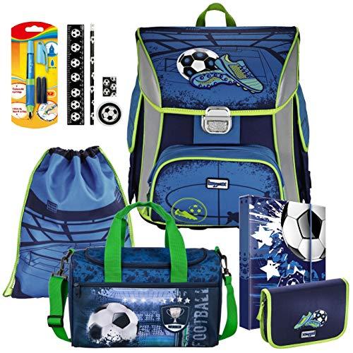 Soccer Blue Fußball Football BAGGYMAX SIMY Leicht Schulranzen Set 10tlg Hama mit SCHULSPORTTASCHE und SCHREIBLERNFÜLLER gratis dazu