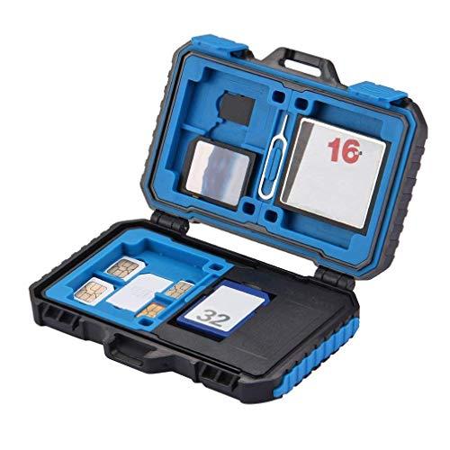 WMWZ Wasserdichte Speicherkarten Reader & Holder-Fall, 21 Slots SD CF TF SIM Cards Case & Cards Reader mit 3 in 1 USB für Computer & Android Smartphones