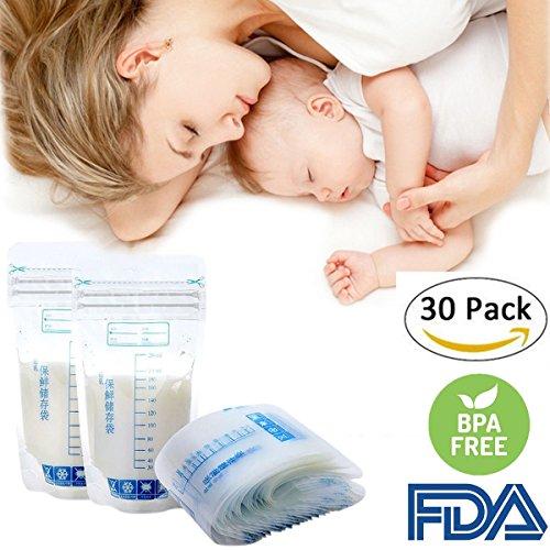 30 bolsas de almacenamiento para leche materna sin BPA, preesterilizadas, contenedor de sellado de congelación, 250 ml