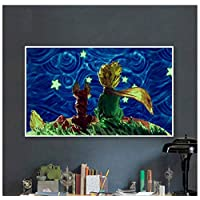 WYTCY Without Framed painting by numbers art paint by number Diy Little Prince and Little Fox Look at Starry Sky Man Manually Filling Color Decorat 40x50cm