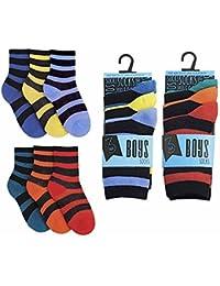 6 pares de Muchachos rayas RJM ocio casual calcetines (4-6)
