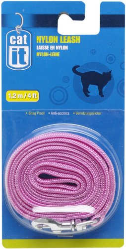 Catit Nylon Cat Leash with Gold-Plated Bolt Snap, Pink by Catit (Snap Leash)