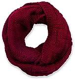 styleBREAKER Strick Loop Schal mit Gitter- und Rippenmuster, Uni Feinstrick Schlauchschal, Winter Strickschal, Unisex 01018155, Farbe:Bordeaux-Rot