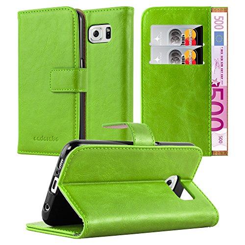 Preisvergleich Produktbild Cadorabo Hülle für Samsung Galaxy S6 - Hülle in Gras GRÜN – Handyhülle im Luxury Design mit Kartenfach und Standfunktion - Case Cover Schutzhülle Etui Tasche Book