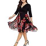 MRULIC Frauen Midi Kleider V-Ausschnitt Wrap Chiffon Floral Langarm Plus Size Abendkleid(A-Schwarz,EU-42/CN-XL)