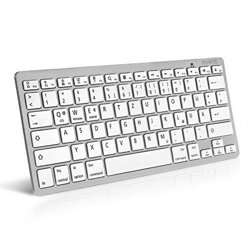 Caseflex Deutsches Layout Kabellose Bluetooth Tastatur Kompatibel Für alle iOS, iPad, Android, Mac, Windows Geräte - Ultra Dünne Silber & Weiss