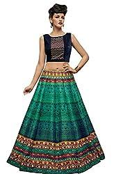 KMOZI Silk Lehenga Choli (Multi-Coloured And Black And Dark Rama Green_Free Size)