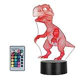 3D Lámpara ilusión, Winzwon 3D LED Luz de noche 16 Colores Cambio de Botón Lámpara de Ilusión Lámpara de Decoración Cambio - Regalos Perfectos Para Niños(Dinosaurio)
