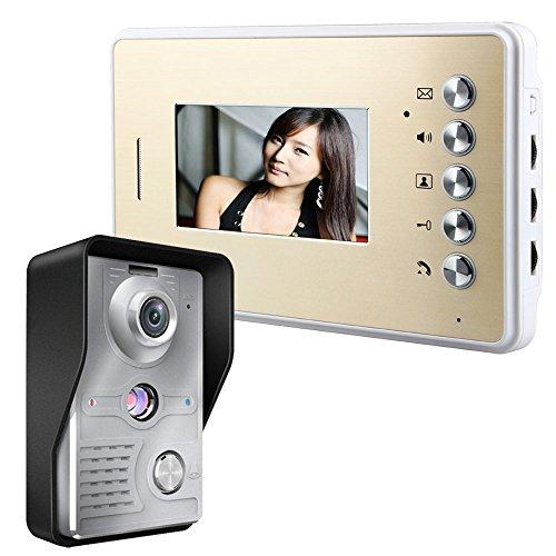Mountainone Video-Türsprechanlage Türklingel, Intercom-System im Set,  10,9cm, mit 1 Kamera 1 Monitor TFT LCD-Bildschirm IR-Nachtsicht, Regendicht, Sicherheit für zu Hause