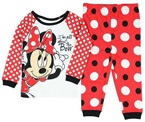 Disney Minnie Mouse Little Girls Toddler Long Sleeve Pajama Set (Kleid Polka Mouse Dot Minnie Rot)