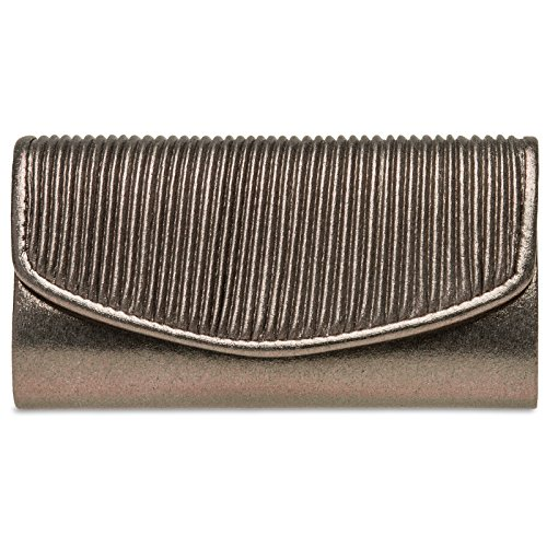 CASPAR TA399 kleine elegante Damen Glanz Clutch Tasche Abendtasche mit gefafftem Überschlag, Farbe:bronze;Größe:One Size