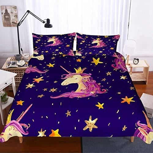 Soefipok Einhorn Bettwäscheset, Prinzessin Einhorn Rosa Haar Gold Krone Twikkle Sterne Blau 3-teilig mit 2 Kissenbezügen Kinderbettwäscheset für Mädchen und Jugendliche