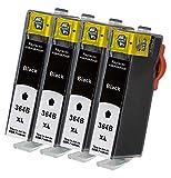 4 x Druckerpatrone Kompatibel zu HP 364 XL 364XL (CB 321 EE) Black /Schwarz (breit)